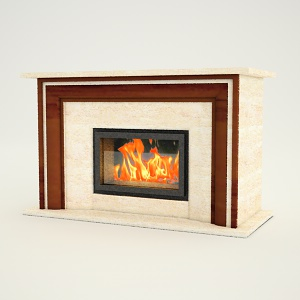 free 3d models - Fireplace free 3d model