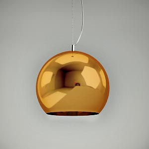 free 3d models - pendant lamp 3d model MIRROR GOLD 1