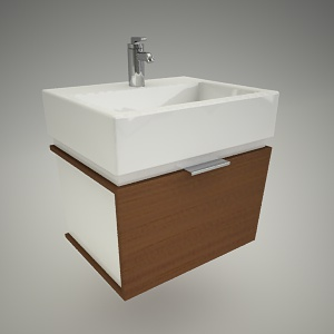 free 3d models - Vanity unit twins 60cm