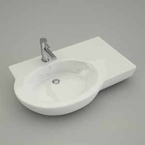 free 3d models - asymmetrical washbasin VARIUS right 80cm